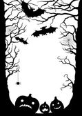 Halloween card with the silhouette of trees bats pumpkins spiders Vector illustration