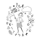 Illustration of a teacher in a cartoon style Background symbolizing learning Vector illustration