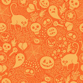 Happy Halloween! Seamless pattern with pumpkins skulls cats spiders  Vector illustration