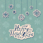 New Year background Hand drawn text and snowflakes Vector illustration
