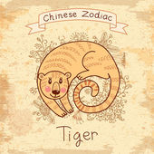 Vintage card with Chinese zodiac -Tiger