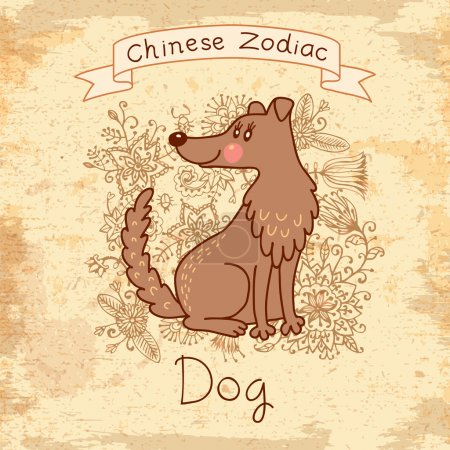 Vintage card with Chinese zodiac - Dog