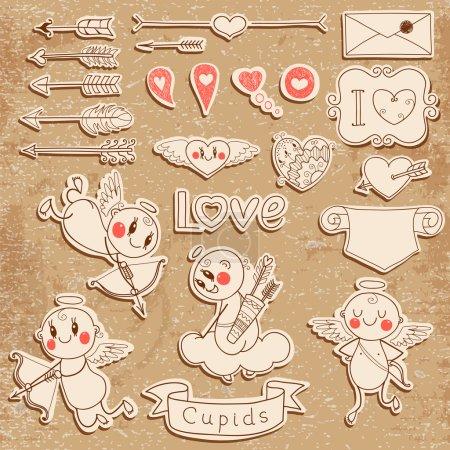 Illustration pour Ensemble mariage et Saint-Valentin éléments de conception. Illustration vectorielle . - image libre de droit