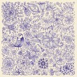 Hand drawn flowers and birds. Card drawn by pen on...
