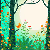 Forest landscape Beautiful forest scene with bird and place for your text Vector illustration