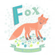 Letter F - Fox. Alphabet with cute animals. Vector...