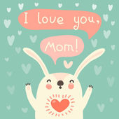 Greeting card for mom with cute rabbit