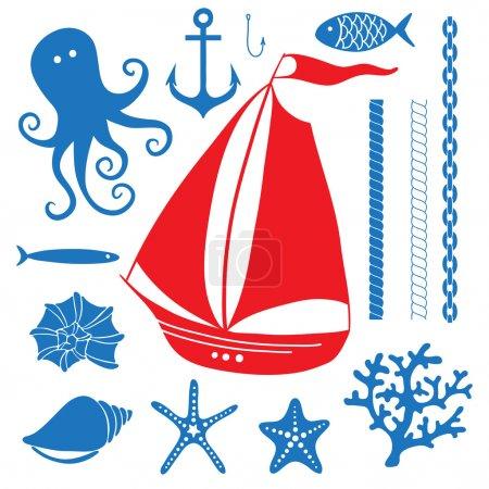 Silhouette Sea - Hand drawn set of sea symbols