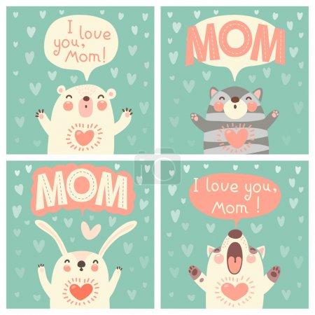 Photo pour Carte de voeux pour maman avec des animaux mignons. Illustration vectorielle . - image libre de droit