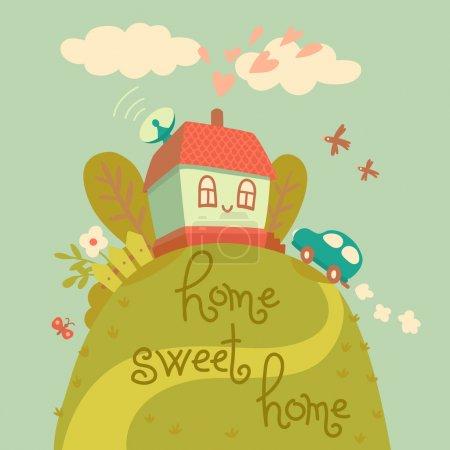 Illustration pour Maison douce maison. carte avec jolie maison et voiture. illustration vectorielle - image libre de droit