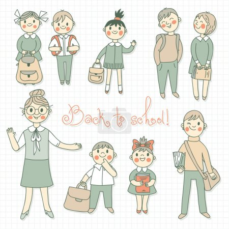 Illustration for The teacher with the students. Back to school. Vector illustration. - Royalty Free Image