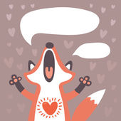Card to the birthday or other holiday with cute fox