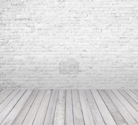 Photo for Interior room with white brick wall and wooden floor - Royalty Free Image