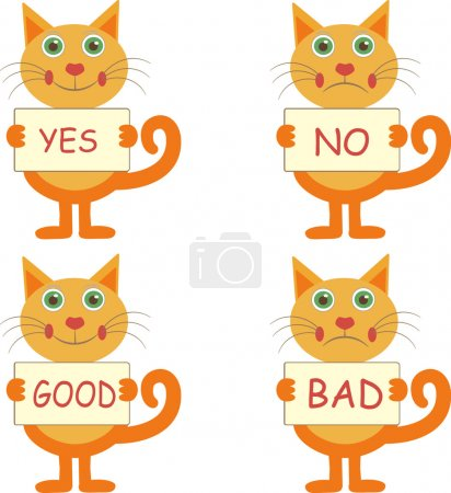 Set of cartoon cats with signs