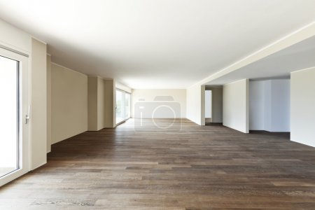 Photo for Modern interior, wide empty apartment with windows - Royalty Free Image
