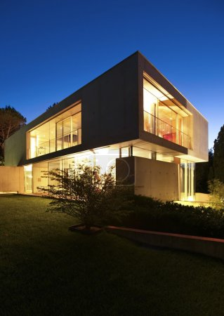 Photo for Modern house, exterior at the night - Royalty Free Image