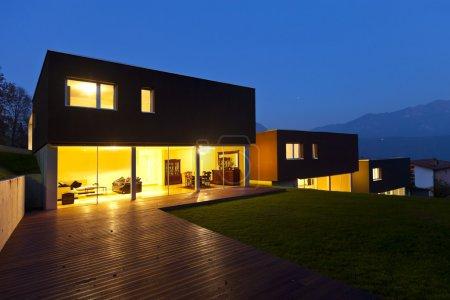 Modern house by night