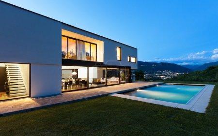 modern villa by night