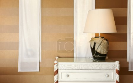 Interior luxury apartment, detail room, table lamp