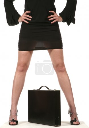 Photo for Woman manager legs on white background - Royalty Free Image