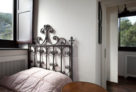 Tower, luxury residential apartments, room with small bed