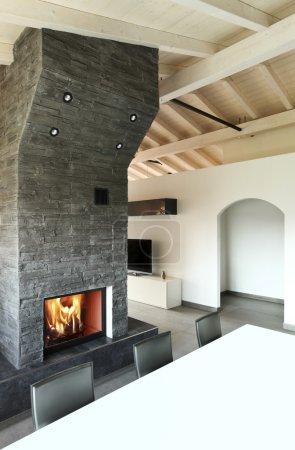Foto de Arquitectura moderna contemporánea, interior, mesa de comedor y chimenea - Imagen libre de derechos