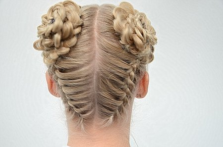 Blond Girl with cute Braids back view