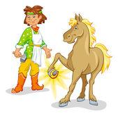 Blacksmith in national costume shod horse