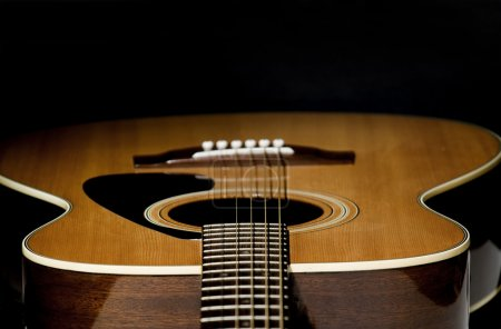 Photo for Abstract shot of the a guitar - looking down the strings, selective focus. - Royalty Free Image
