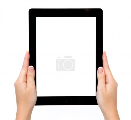female hands holding a tablet