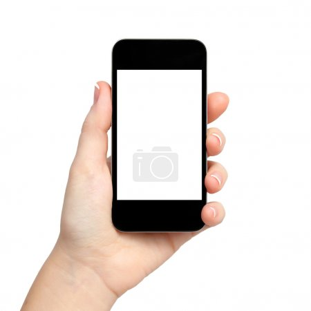Isolated woman hand holding the phone tablet touch computer gadg