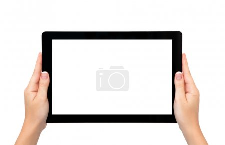 Isolated female hands hold longer banner tablet or frame