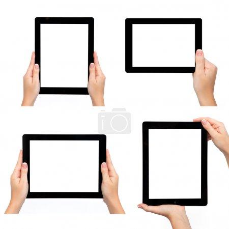 Photo pour Isolé femelle main tenant ordinateur tablette de différentes façons - image libre de droit