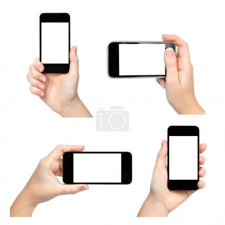 Photo pour Des mains féminines isolées tenant le téléphone de différentes manières - image libre de droit
