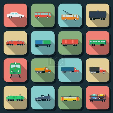 Photo for Transport flat vector icons - Royalty Free Image