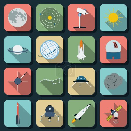 Illustration for Space and astronomy flat vector icons - Royalty Free Image