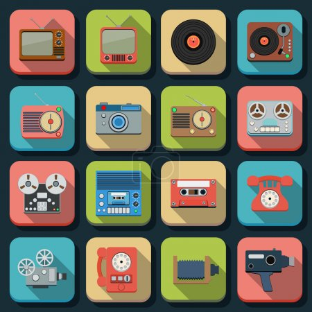 A set of retro electronic flat vector icons...