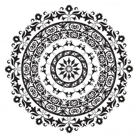 Photo for Oriental ornament in black and white circular - Royalty Free Image