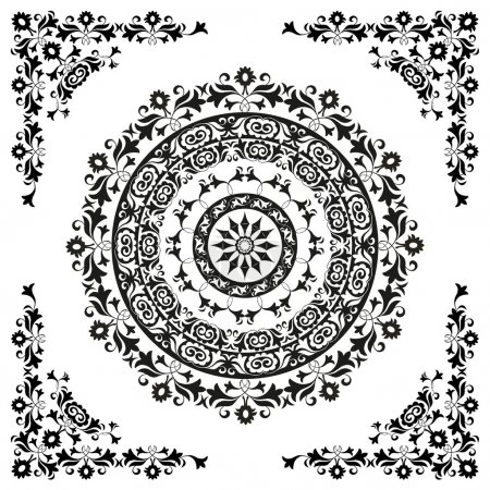 Illustration for Oriental ornament in black and white circular - Royalty Free Image