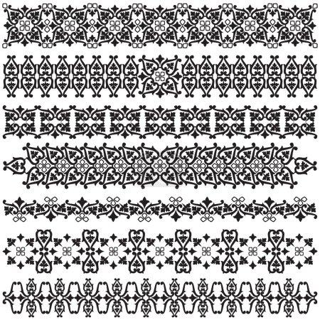 Illustration for Studied the eastern border set of antique patterns - Royalty Free Image
