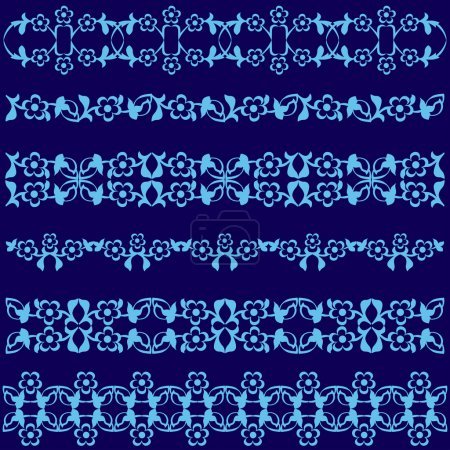 Ottoman motifs blue design series of fifty seven