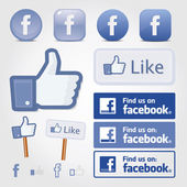 Facebook set icon button like symbol Zip includes 300 dpi JPG Illustrator CS EPS10 Vector with transparency