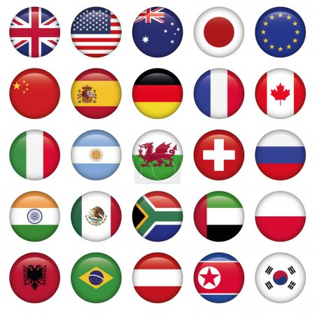 Illustration for Set of Round Flags world top states, Zip includes 300 dpi JPG, Illustrator CS, EPS10. Vector with transparency. - Royalty Free Image