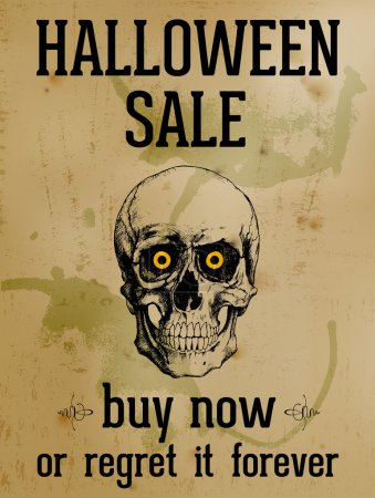 Halloween Sale - Ink Skull Over Old Stained Paper