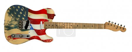 Photo for Usa flag old electric guitar with clipping path - Royalty Free Image