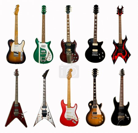 Photo for Collection of electric guitars on white background - Royalty Free Image