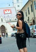 žena turistické