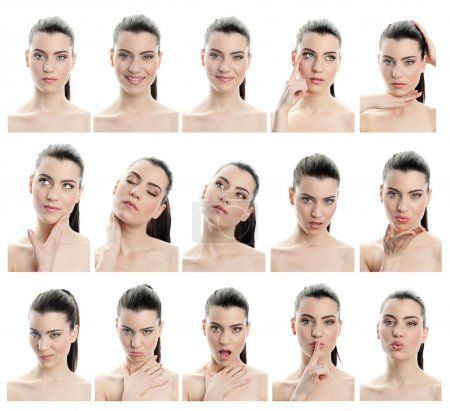 Photo for Collection of young woman facial expressions, full resolution single images avaliable separatly in my gallery - Royalty Free Image