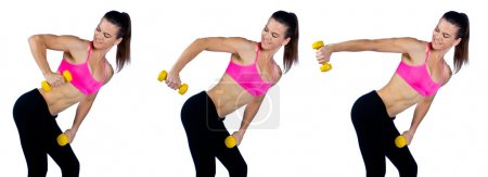 Photo for Attractive woman athlete working on triceps exercise routine with weights - Royalty Free Image