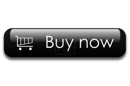 Illustration pour Noir bouton acheter maintenant avec panier . - image libre de droit